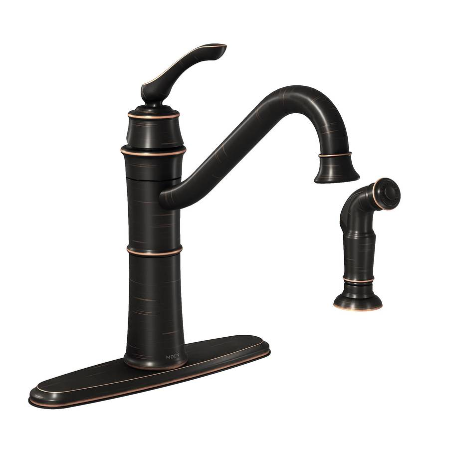 shop moen wetherly mediterranean bronze 1-handle deck mount high