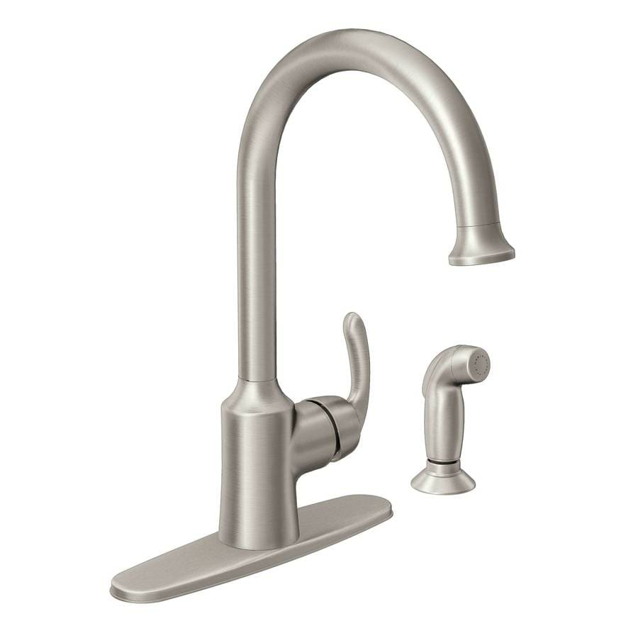 Moen Bayhill Spot Resist Stainless 1-Handle High-Arc Kitchen Faucet with Side Spray