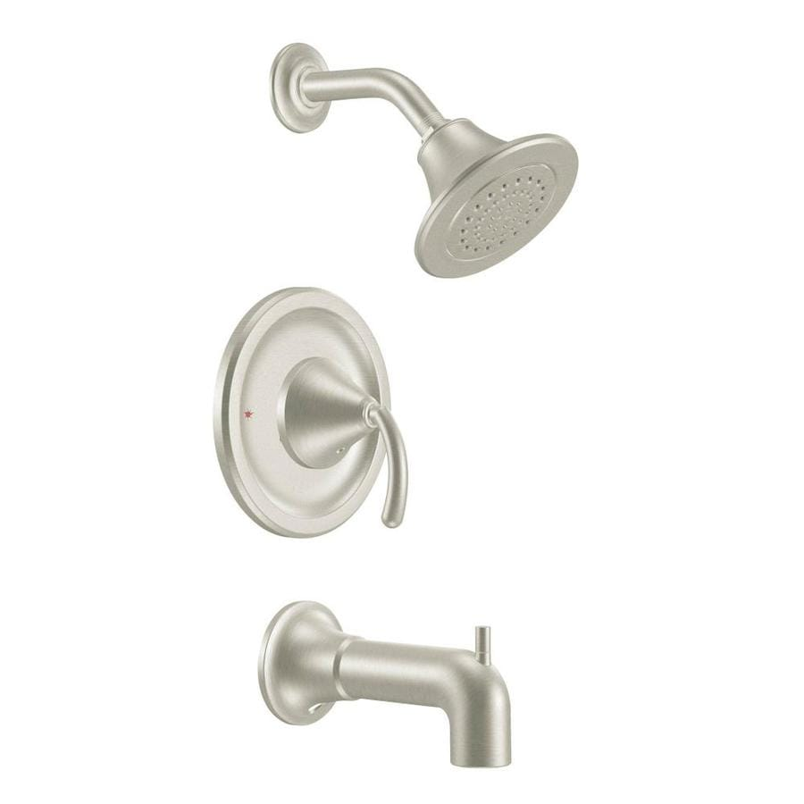 Moen Icon Brushed Nickel 1-Handle WaterSense Bathtub and Shower Faucet Trim Kit with Single Function Showerhead