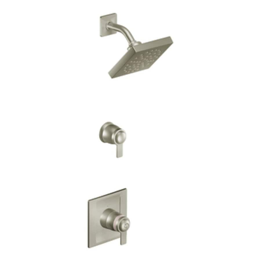 Shop Moen Exacttemp Brushed Nickel 2 Handle Shower Faucet Trim Kit With Rain Showerhead At