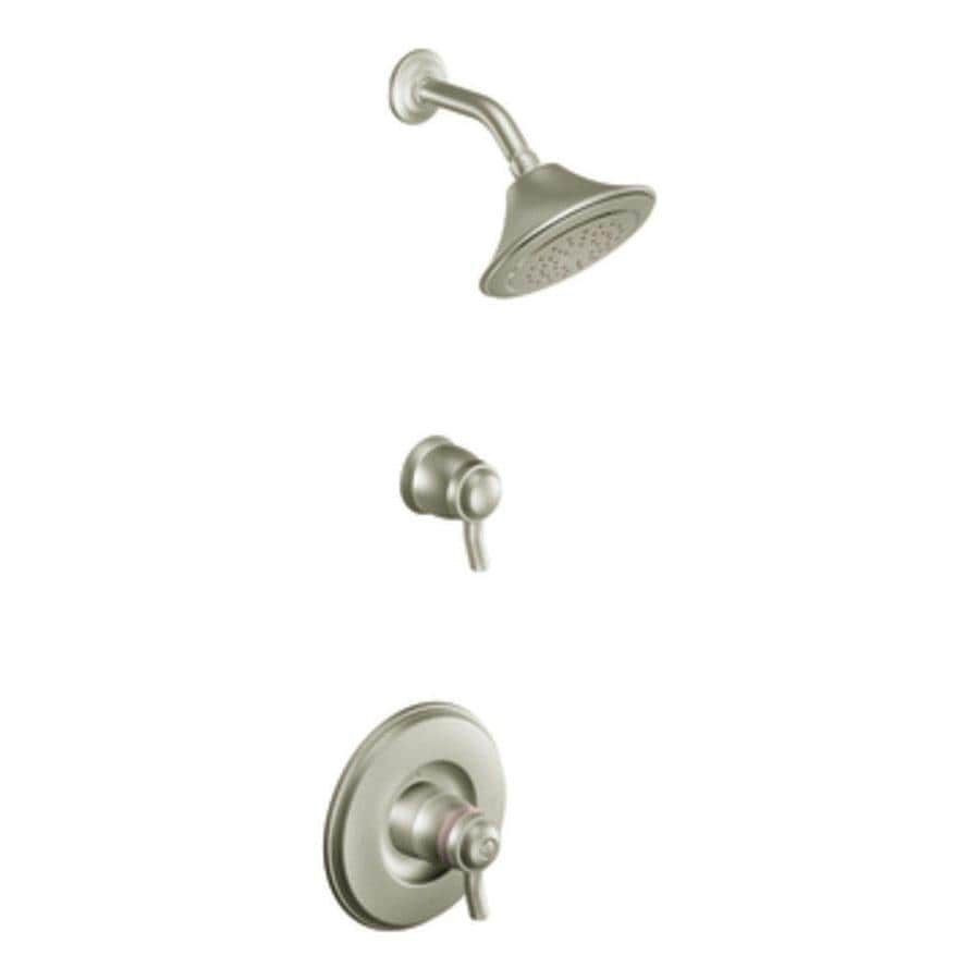 Moen Exacttemp Brushed Nickel 2-Handle Shower Faucet Trim Kit with Rain Showerhead