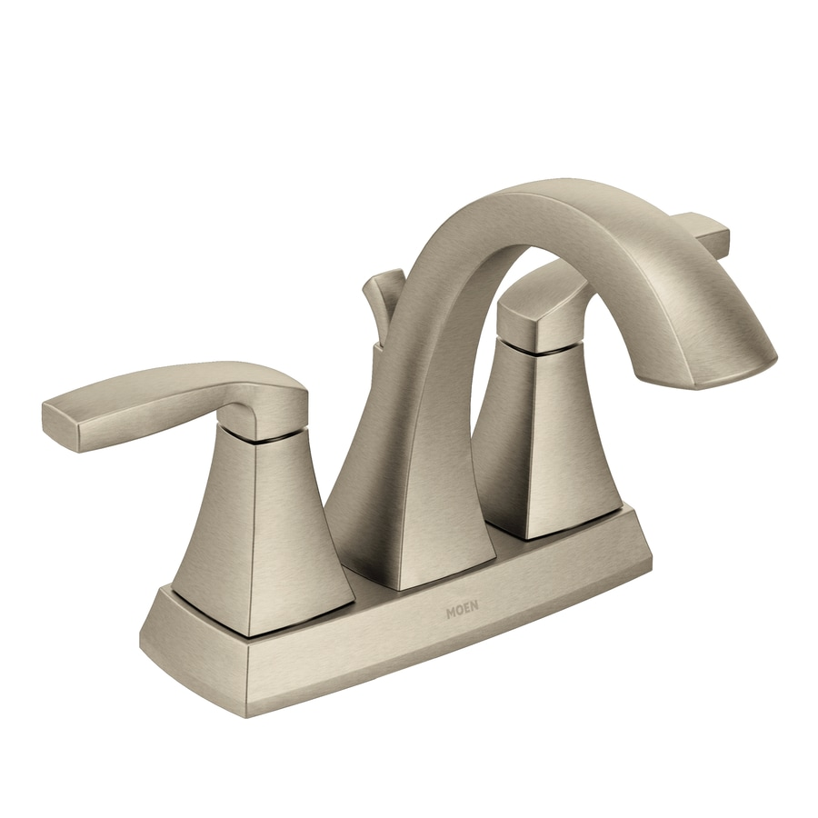 Shop Moen Voss Brushed Nickel 2 Handle 4 In Centerset Watersense Bathroom Faucet Drain Included