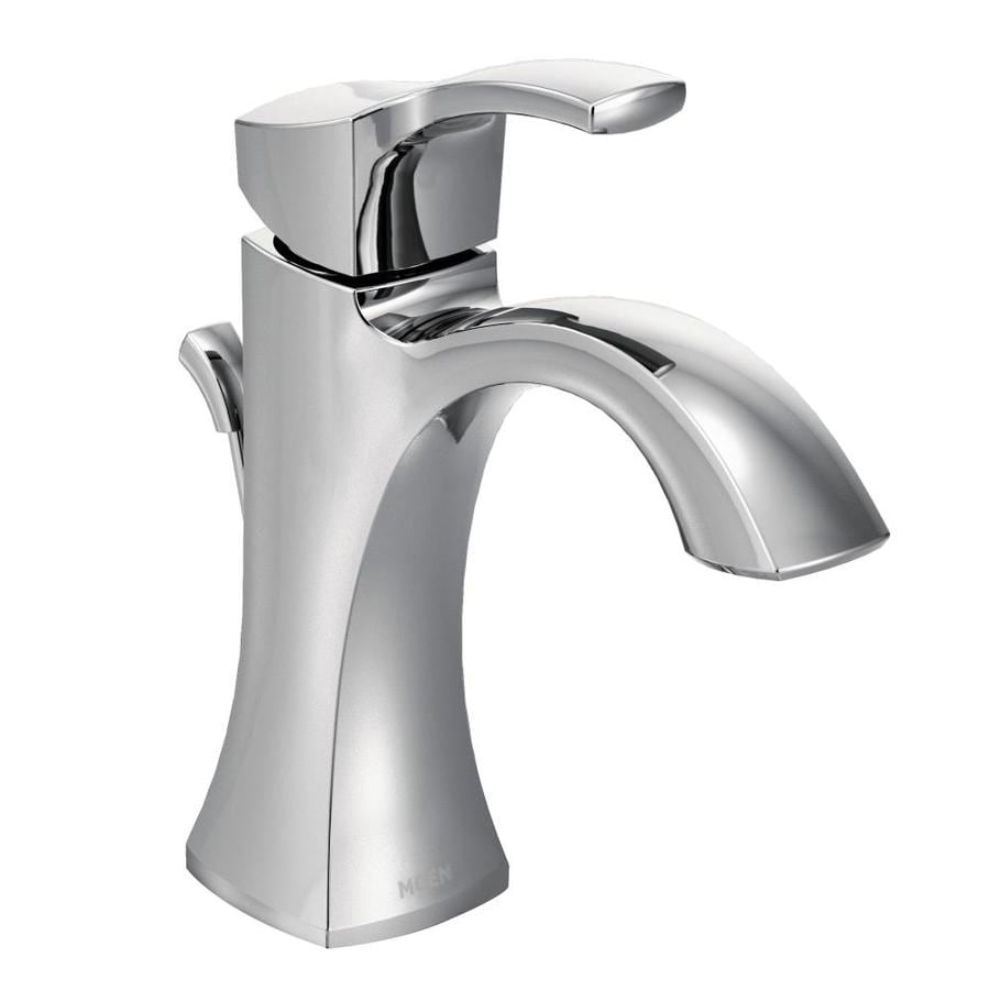 Moen Voss Chrome 1-Handle Single Hole/4-in Centerset WaterSense Bathroom Faucet (Drain Included)