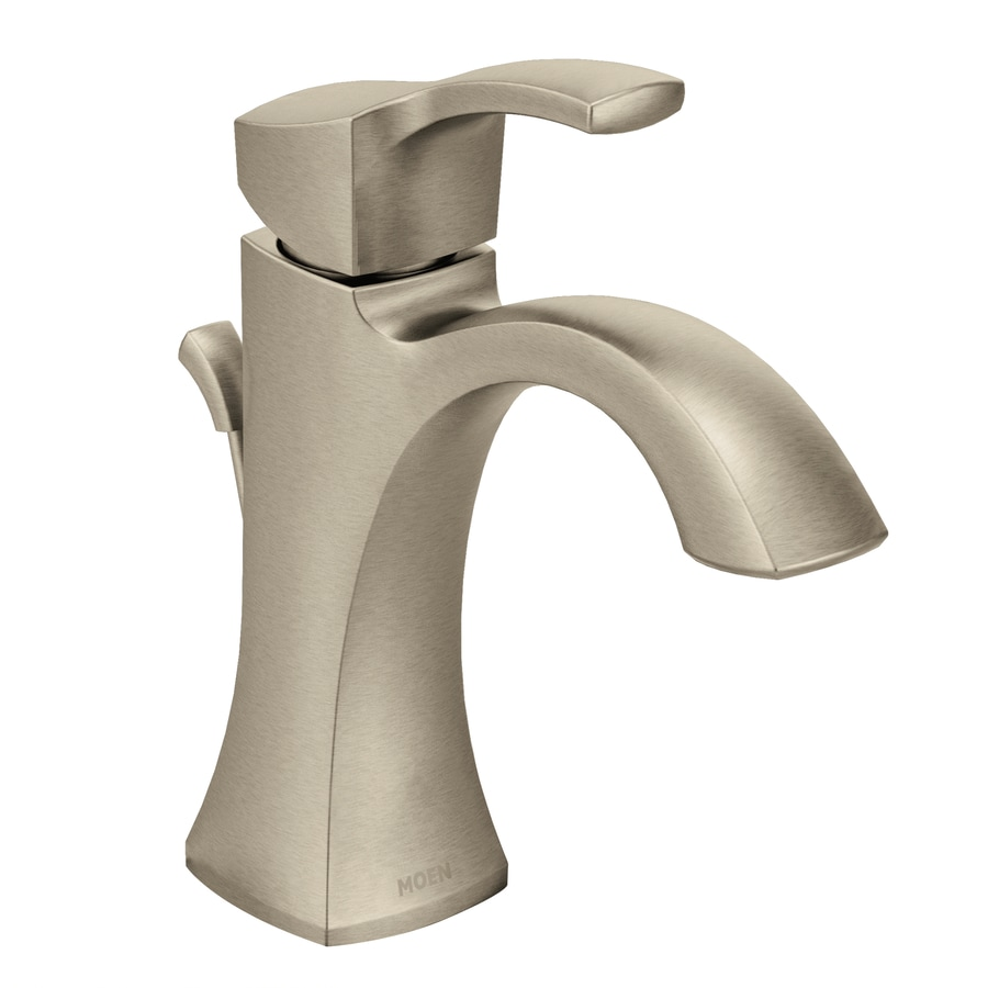 Moen voss brushed nickel 1 handle single hole watersense - Single hole bathroom faucets brushed nickel ...