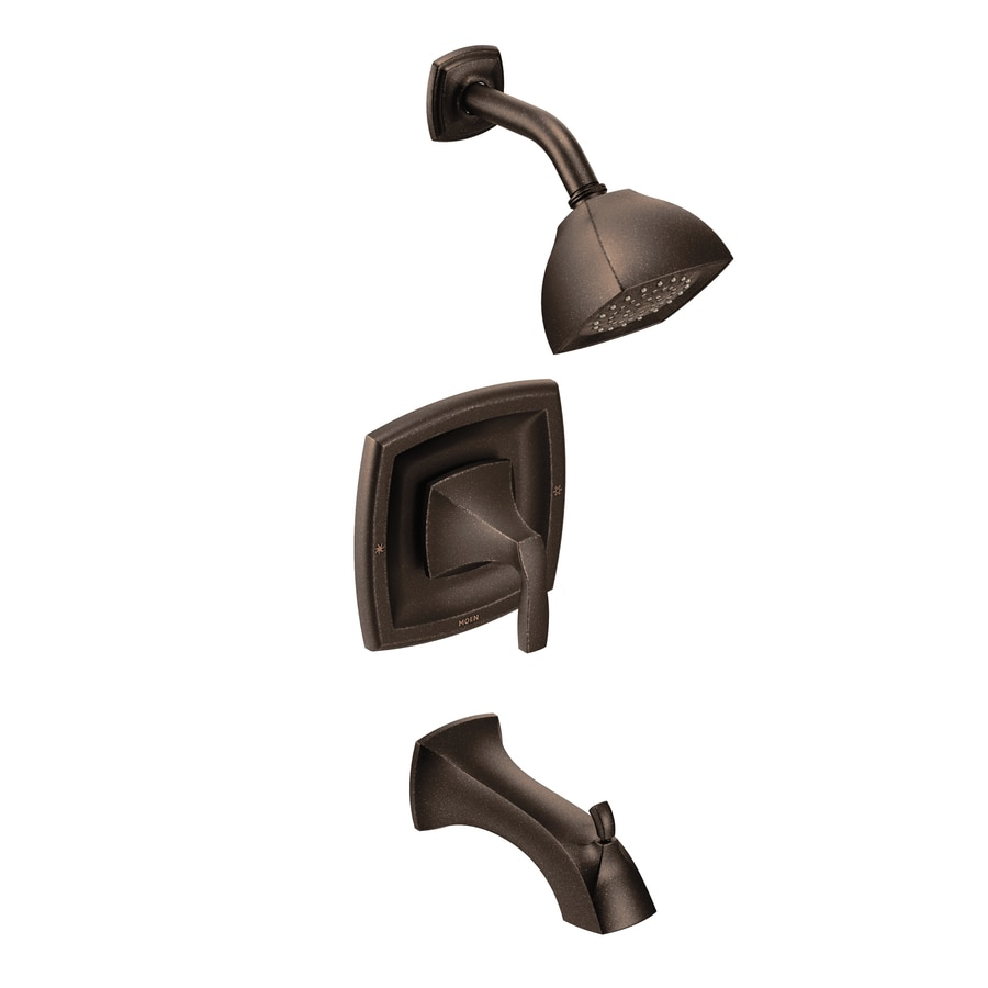 Moen Voss Oil-Rubbed Bronze 1-Handle WaterSense Bathtub and Shower Faucet Trim Kit with Single Function Showerhead