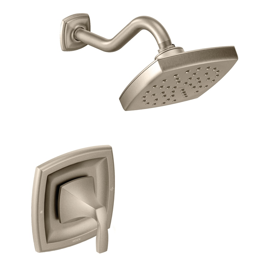 Moen Voss Brushed Nickel 1-Handle Shower Faucet Trim Kit with Rain Showerhead