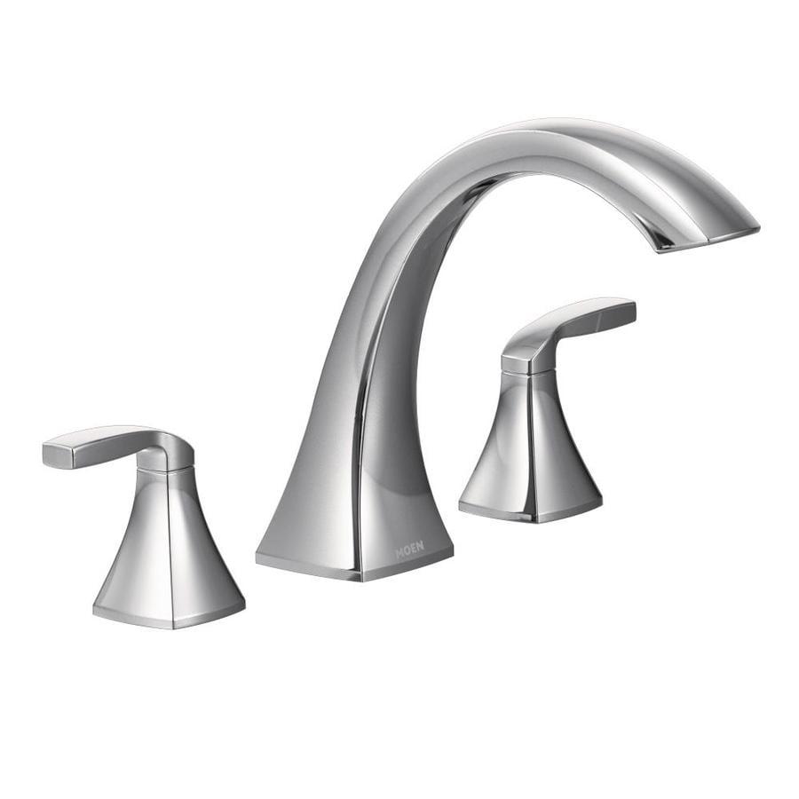 Shop Moen Voss Chrome 2-Handle Adjustable Deck Mount Bathtub Faucet ...