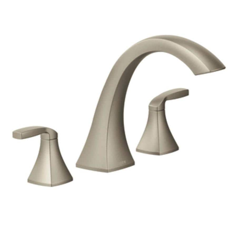 Moen Voss Brushed Nickel 2 Handle Adjustable Deck Mount Bathtub Faucet. Shop Moen Voss Brushed Nickel 2 Handle Adjustable Deck Mount