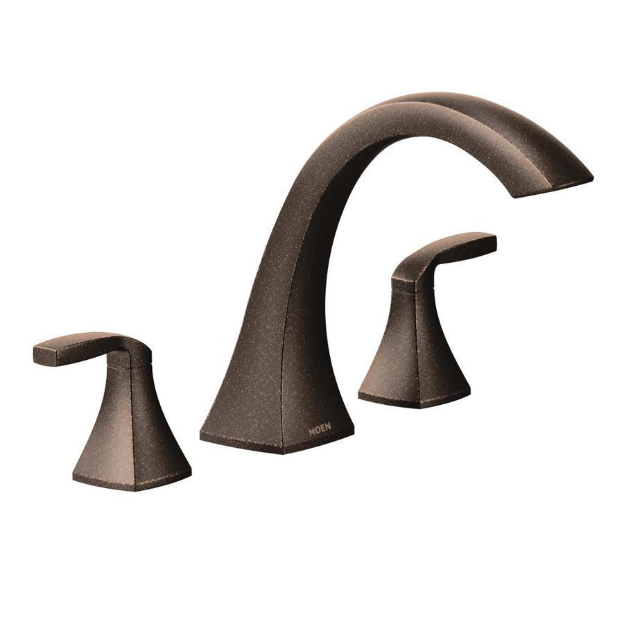 Shop Moen Voss Oil Rubbed Bronze 2 Handle Adjustable Deck Mount Bathtub Fauce