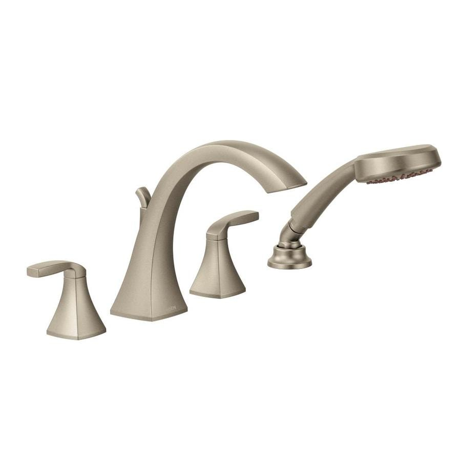 moen kitchen faucet brushed nickel shop moen voss brushed nickel 2 handle handle adjustable deck mount tub faucet at lowes com 5415