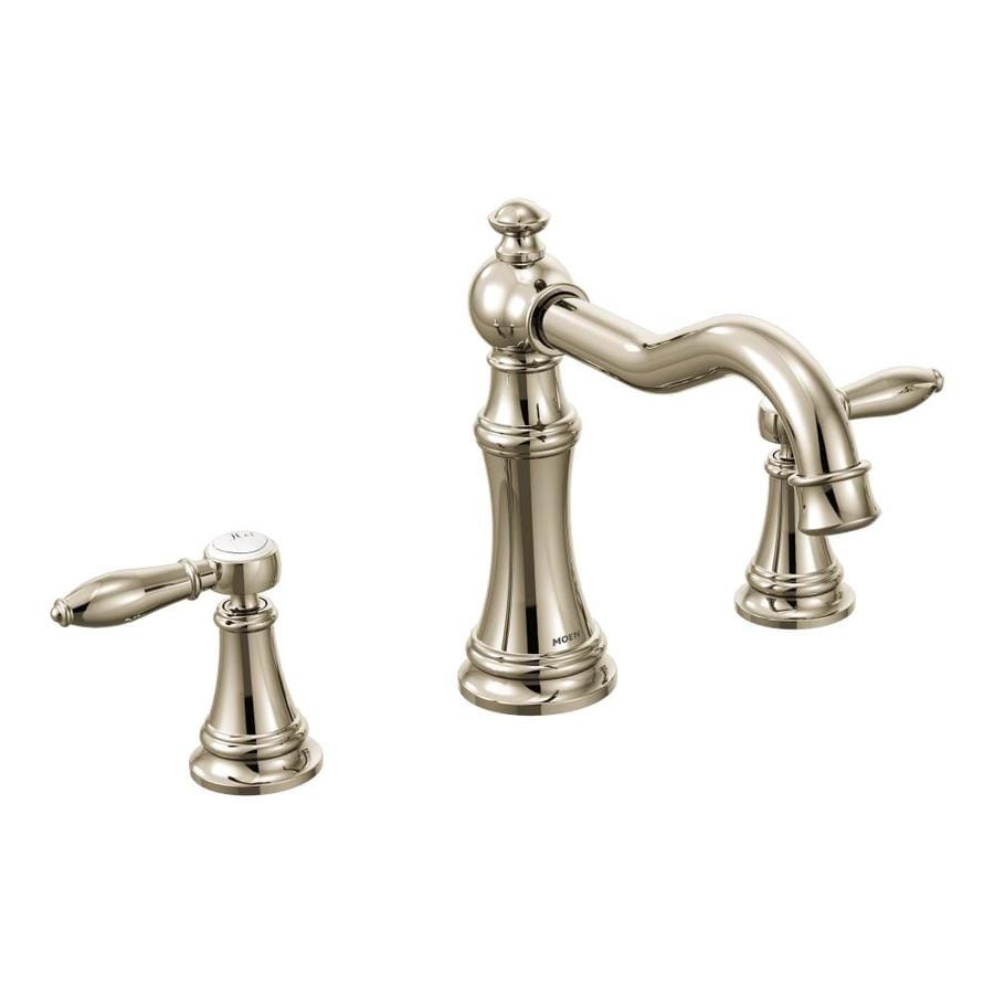 Shop Moen Weymouth Nickel 2 Handle Adjustable Deck Mount Bathtub Faucet At