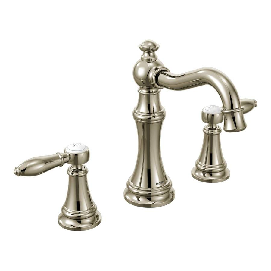 Moen Weymouth Nickel 2-Handle Widespread WaterSense Bathroom Faucet