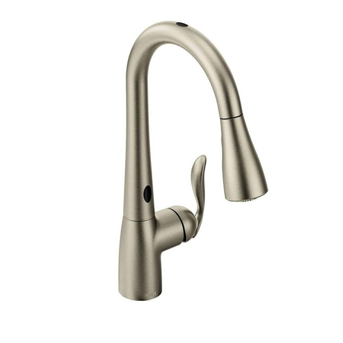Moen Arbor Spot Resist Stainless 1 Handle Deck Mount Pull Down Handle Kitchen Faucet Deck Plate Included In The Kitchen Faucets Department At Lowes Com