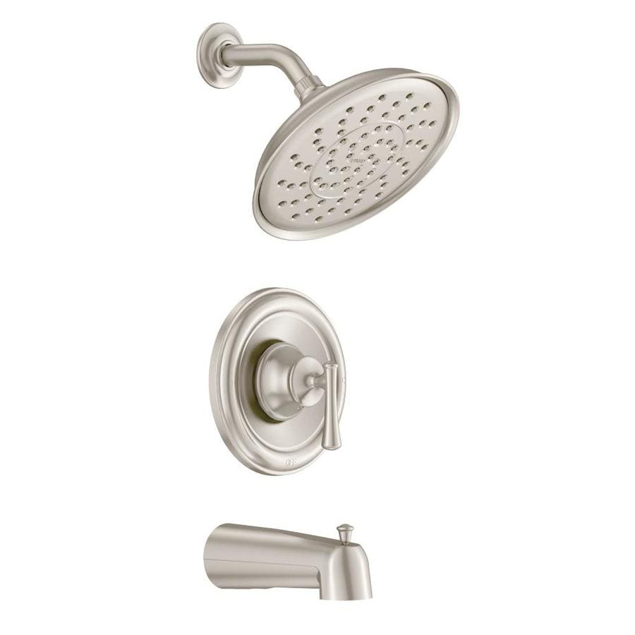 Moen Ashville Spot Resist Brushed Nickel 1-Handle WaterSense Bathtub and Shower Faucet with Single Function Showerhead