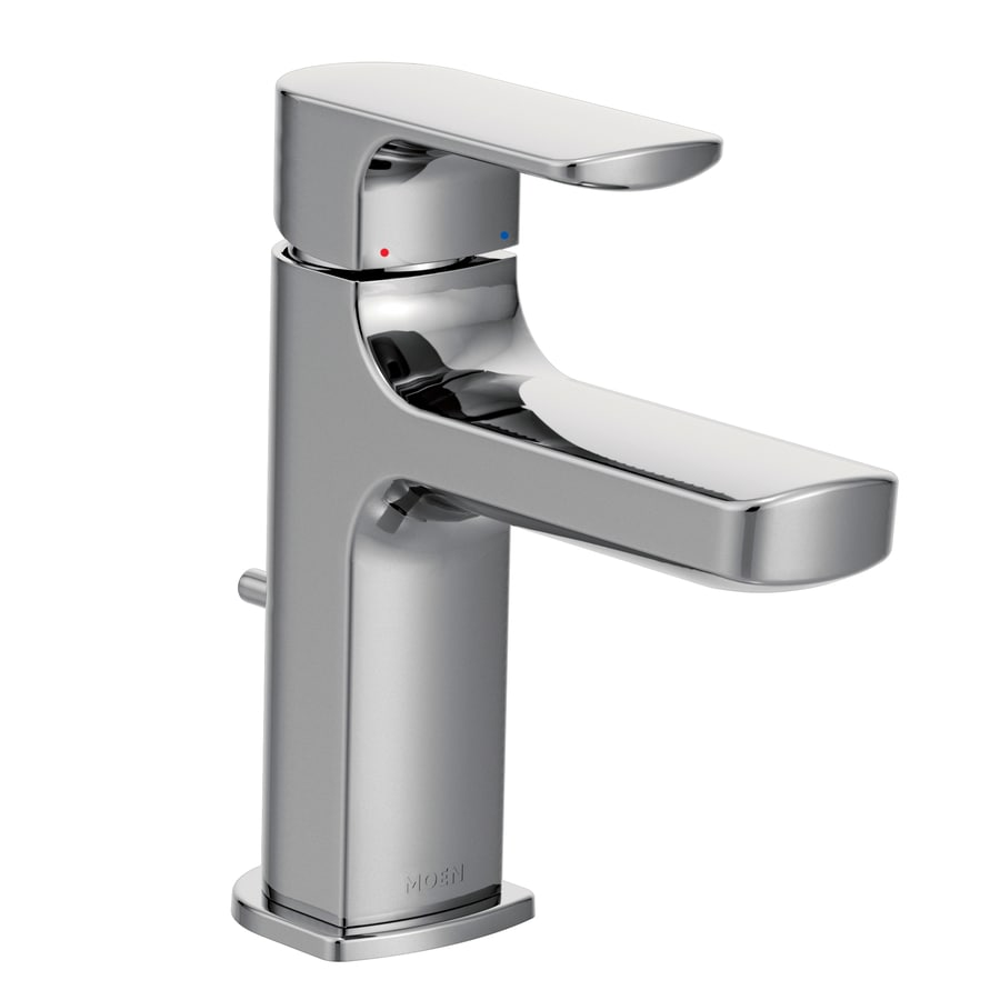 Shop moen rizon chrome 1 handle single hole 4 in centerset for Robinet de salle de bain moen
