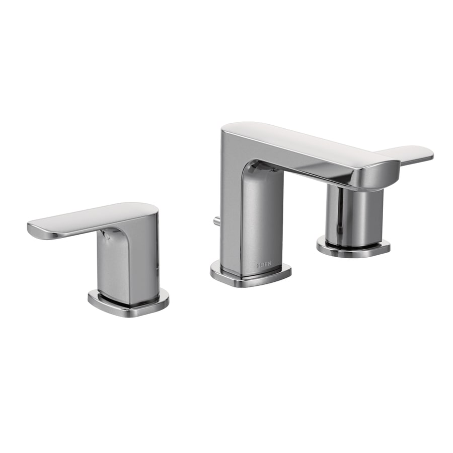 Shop Moen Rizon Chrome 2 Handle Widespread WaterSense Bathroom Faucet Drain