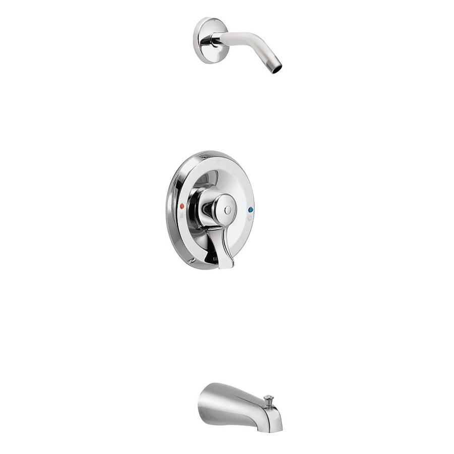 Moen Commercial Chrome 1-Handle Bathtub and Shower Faucet with Single Function Showerhead