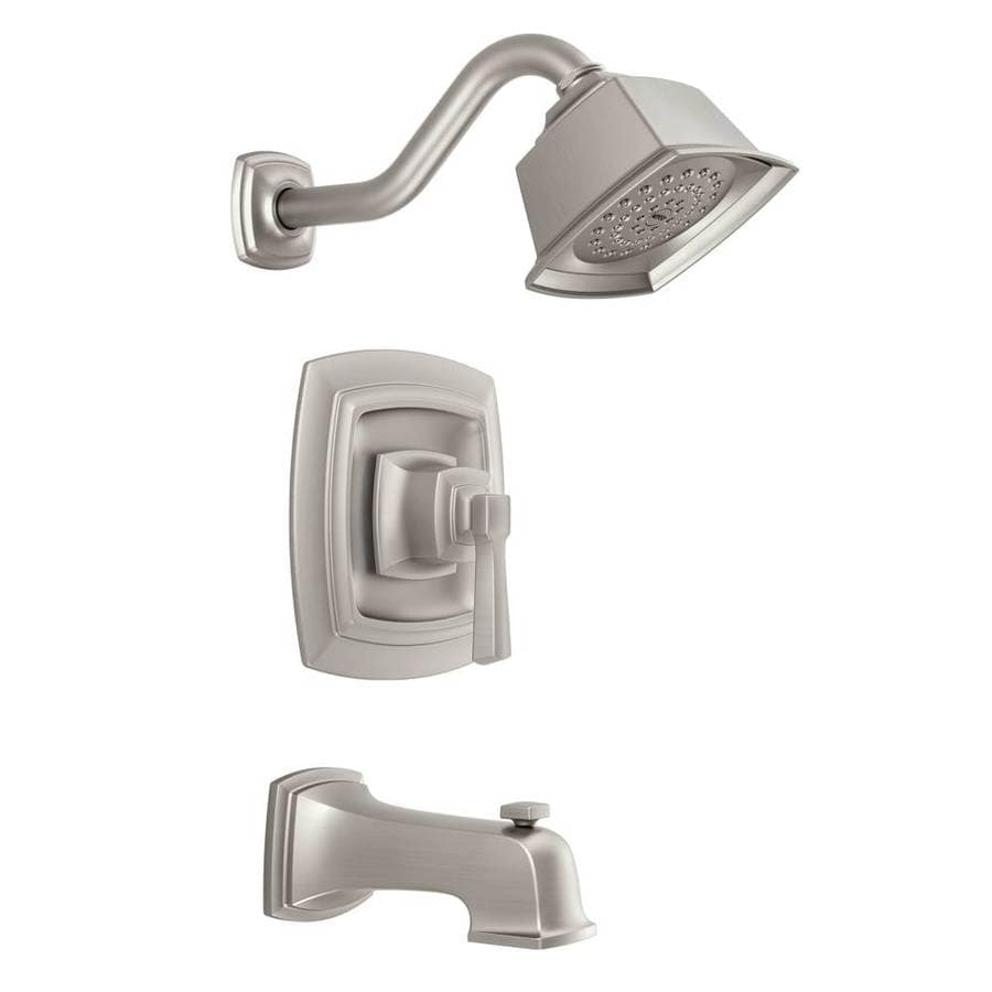Moen Boardwalk Spot Resist Brushed Nickel 1-Handle WaterSense Bathtub and Shower Faucet with Single Function Showerhead