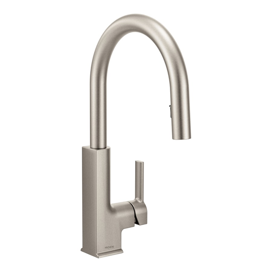 Shop Moen Sto Spot Resist Stainless 1 Handle Deck Mount Pull Down Kitchen Faucet At