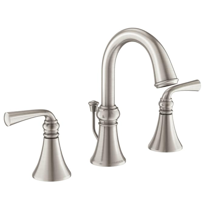 Moen Wetherly Spot Resist Brushed Nickel 2 Handle Widespread Watersense Bathroom Faucet Drain Included In The Bathroom Sink Faucets Department At Lowes Com