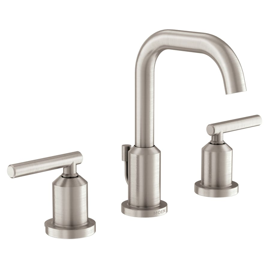 Shop Moen Gibson Spot Resist Brushed Nickel 2 Handle Widespread Watersense Bathroom Faucet