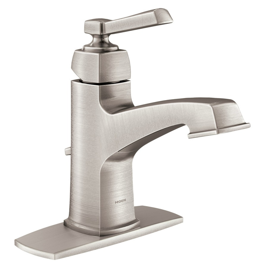 Moen Boardwalk Spot Resist Brushed Nickel 1 Handle Single Hole Watersense Bathroom Sink Faucet