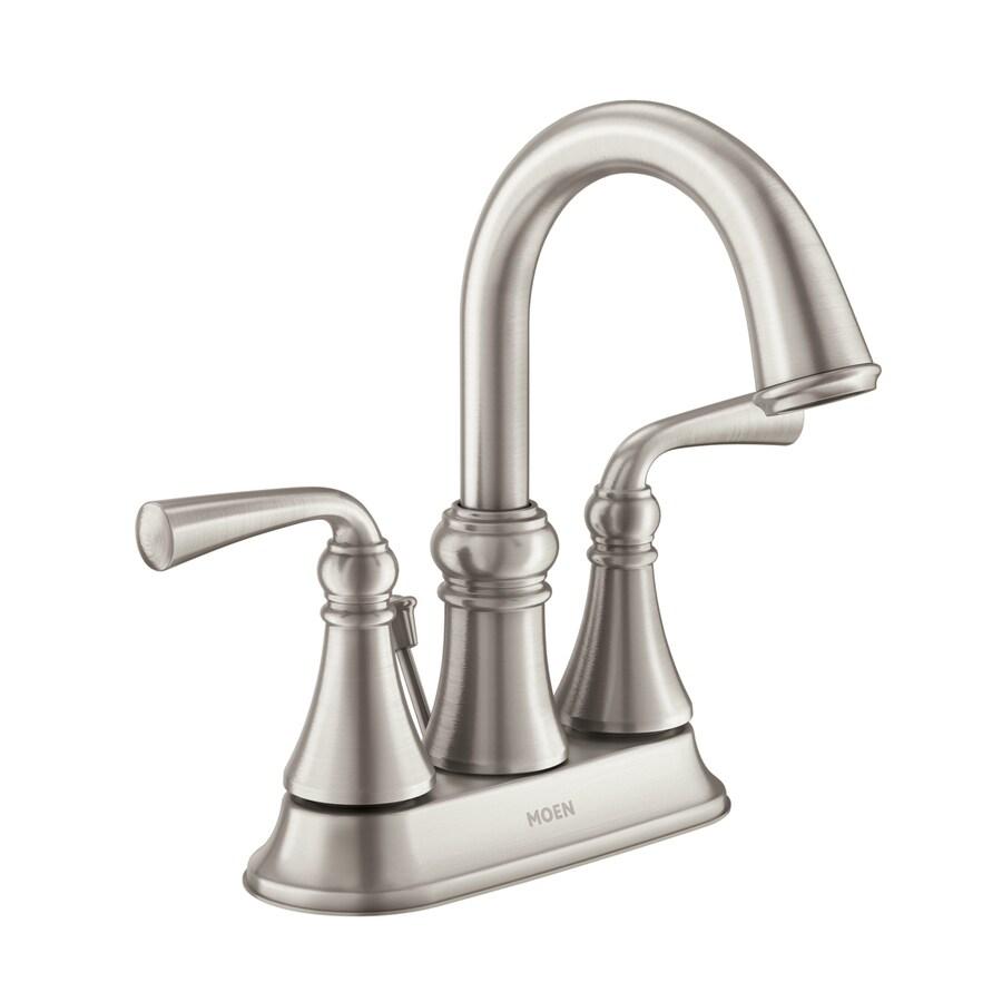 Moen Wetherly Spot Resist Brushed Nickel 2 Handle 4 in Centerset WaterSense Bathroom  Faucet. Shop Moen Wetherly Spot Resist Brushed Nickel 2 Handle 4 in
