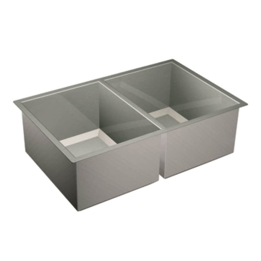 Moen 1600 Series 20-in x 31-in Stainless Steel Double-Basin Undermount Residential Kitchen Sink