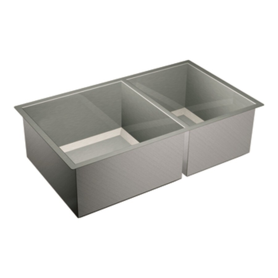 Moen 1600 Series 20-in x 34-in Double-Basin Stainless Steel Undermount Residential Kitchen Sink