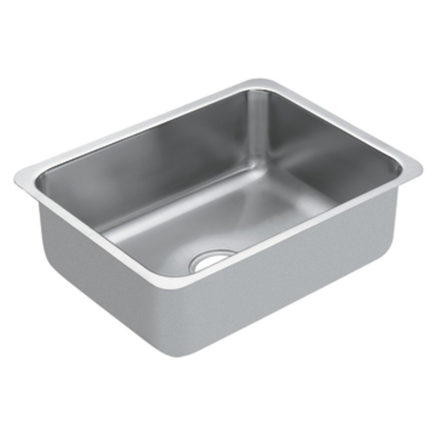 Moen 1800 Series 23-in x 18-in Stainless Steel Single-Basin-Basin Stainless Steel Undermount (Customizable)-Hole Residential Kitchen Sink