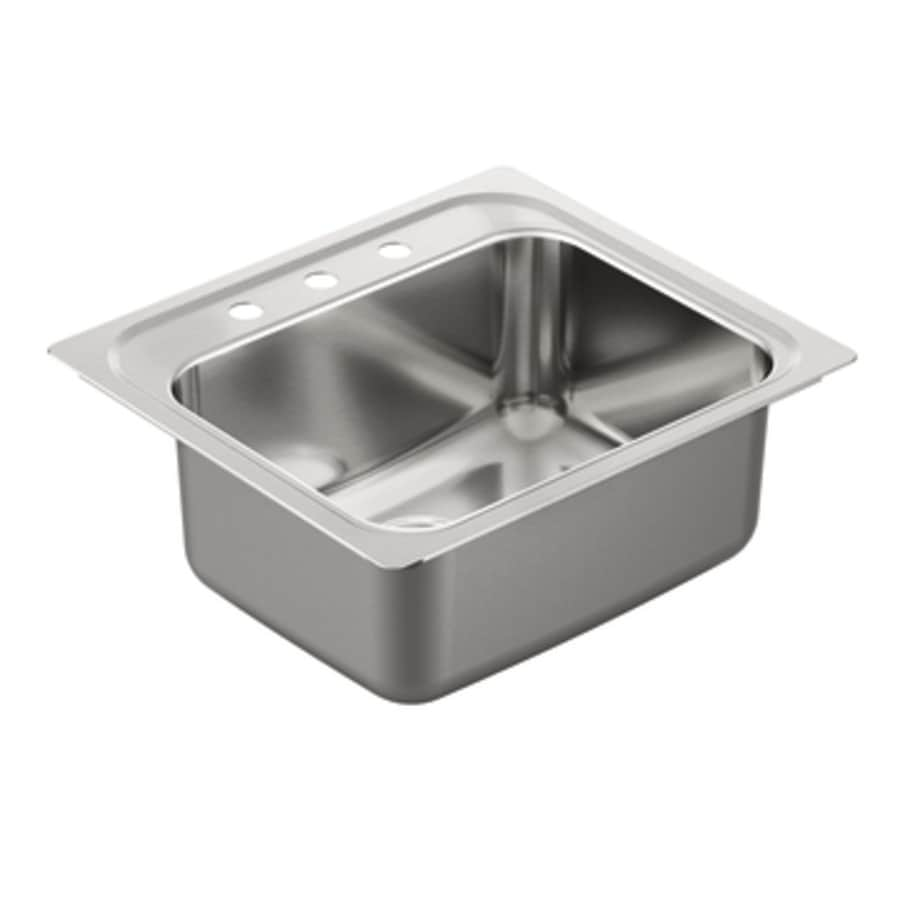 Moen 1800 Series 22-in x 25-in Stainless Steel 1 Stainless Steel Drop-in 3-Hole Residential Kitchen Sink