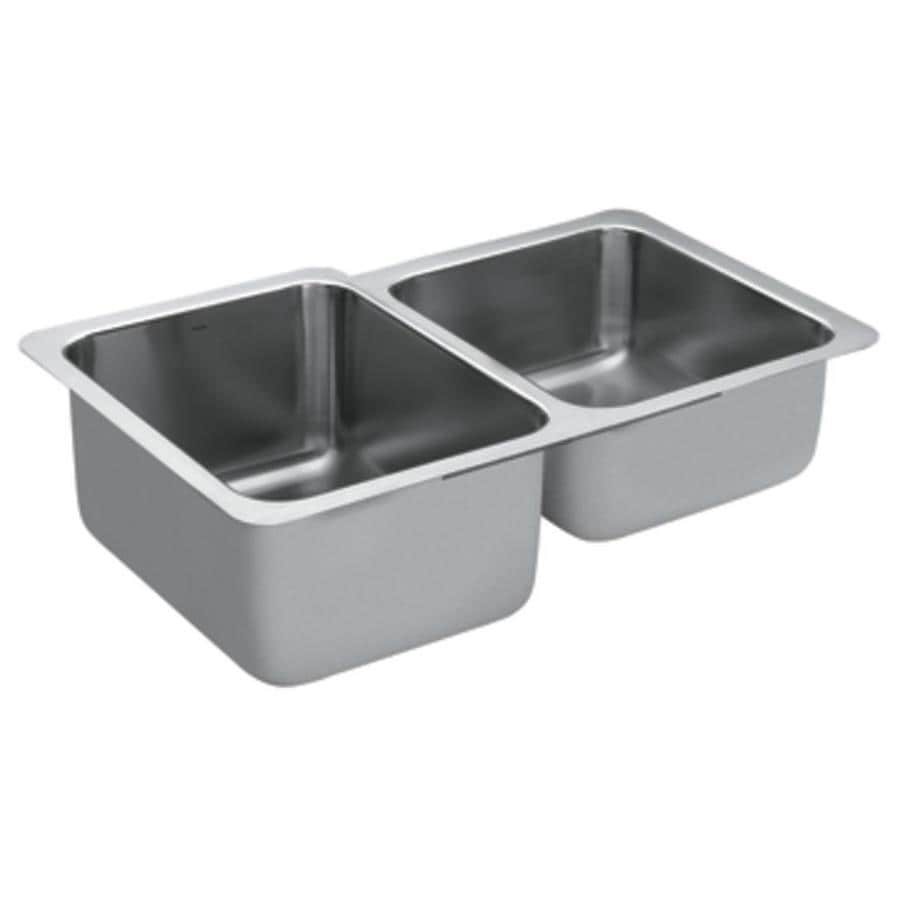 Moen 1800 Series 20.5-in x 32-in Double-Basin Stainless Steel Undermount Residential Kitchen Sink