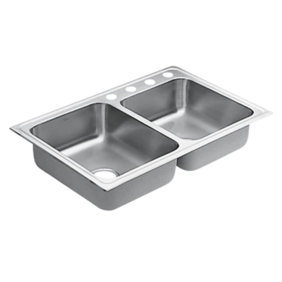 Moen 1800 Series 22-in x 33-in Stainless Steel Double-Basin Drop-in 4-Hole Commercial Kitchen Sink