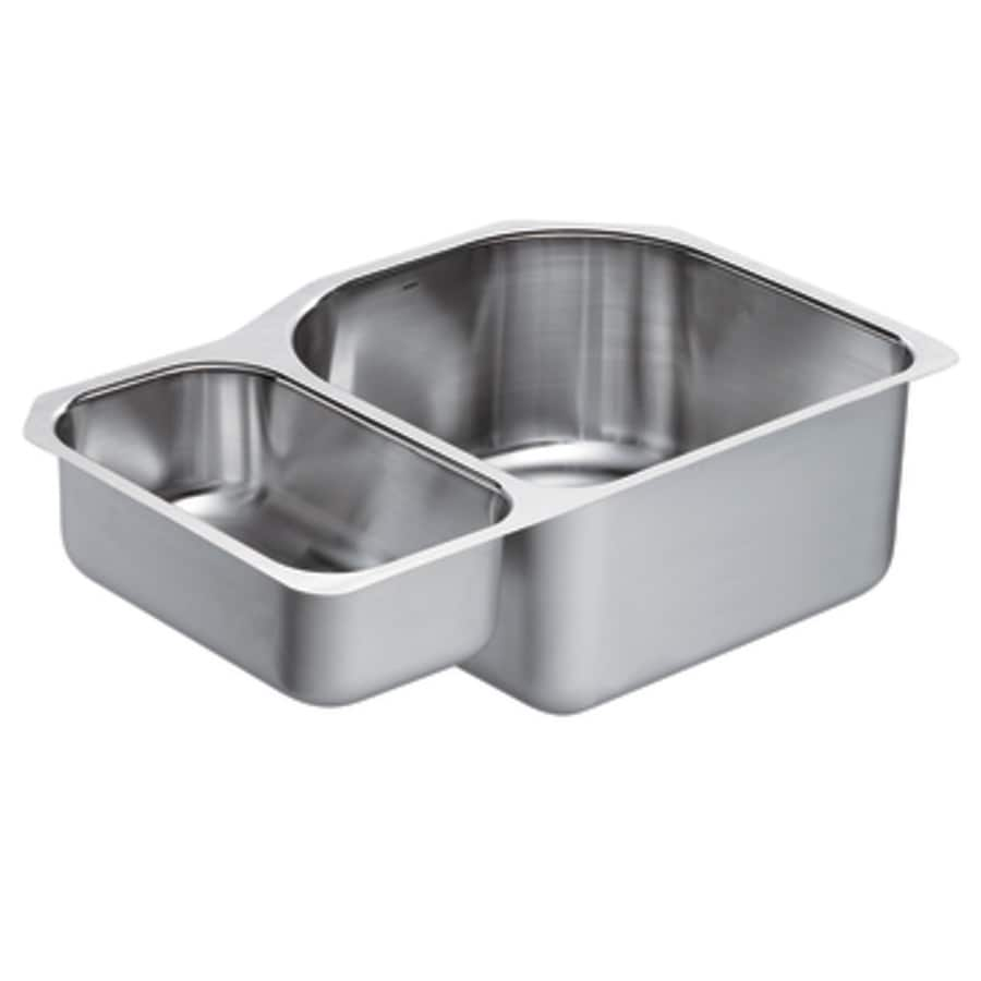 Moen 1800 Series 20-in x 30.25-in Stainless Steel Double-Basin Undermount 4-Hole Commercial Kitchen Sink
