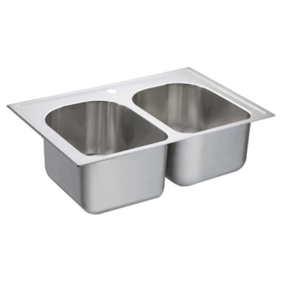 Moen 1800 Series 22-in x 33-in Stainless Steel Double-Basin Drop-in 1-Hole Residential Kitchen Sink