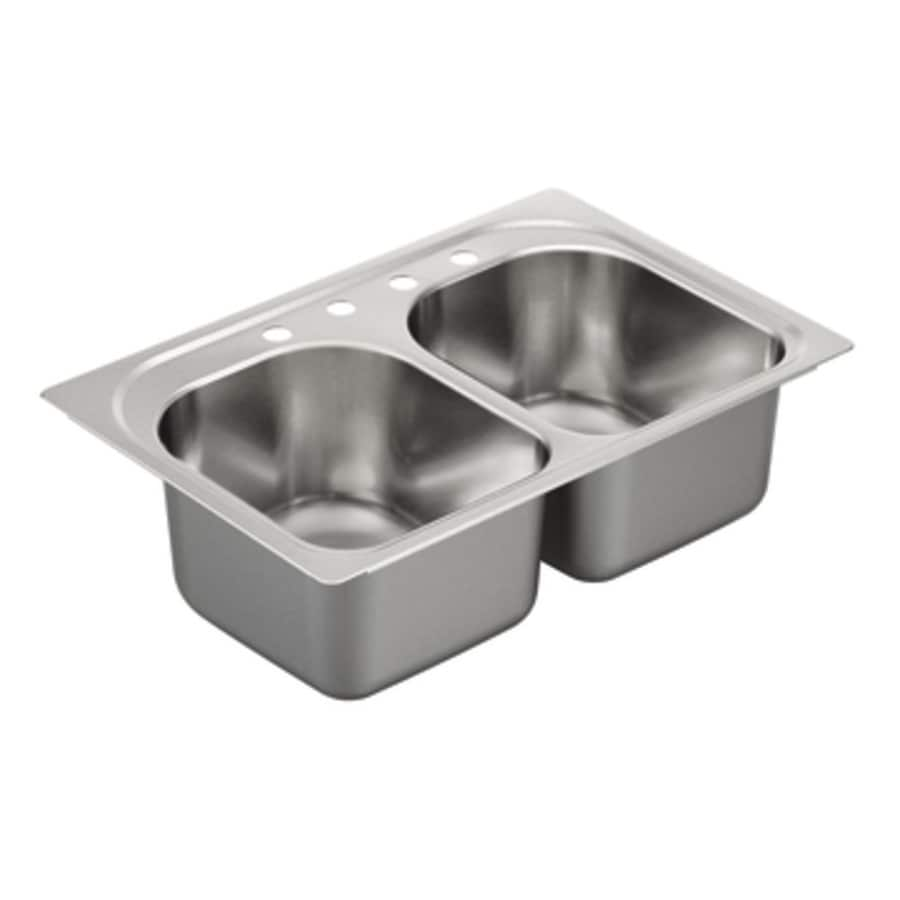 Moen 1800 Series 22-in x 33-in Stainless Steel 2 Stainless Steel Drop-in 4-Hole Residential Kitchen Sink
