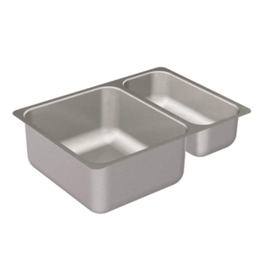Moen 2000 Series 17-in x 24-in Stainless Steel Double-Basin Undermount Residential Kitchen Sink