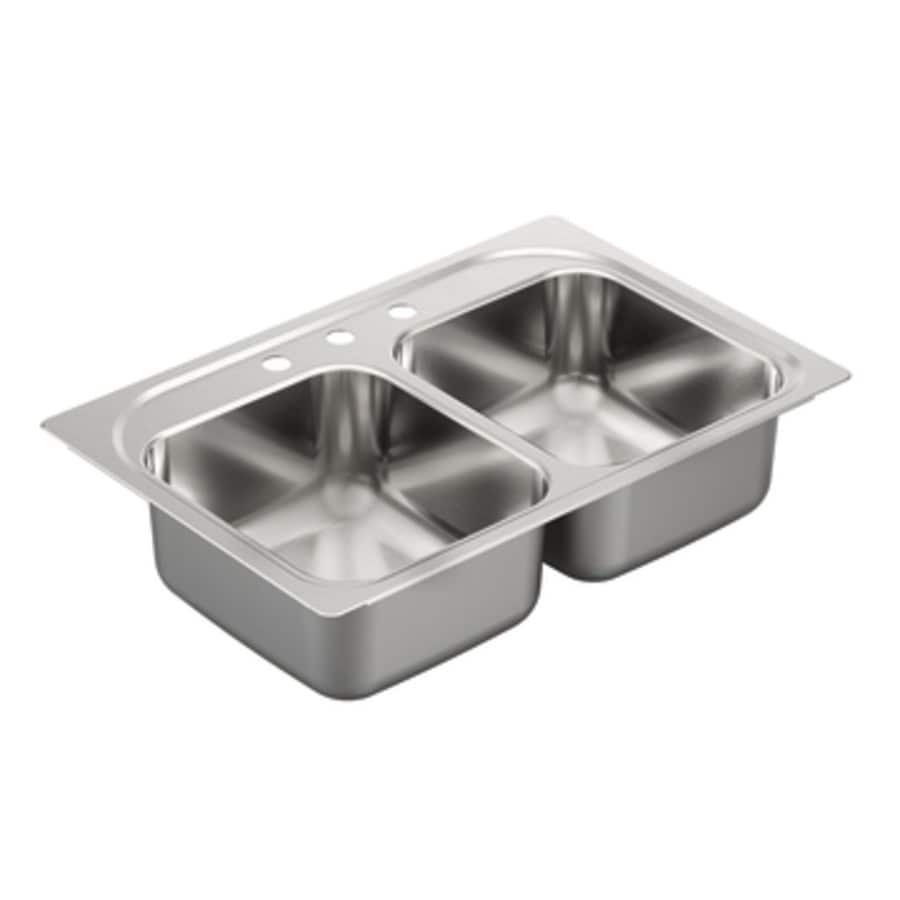Shop moen 2200 series 22 in x 33 in double basin stainless for Colored stainless steel sinks