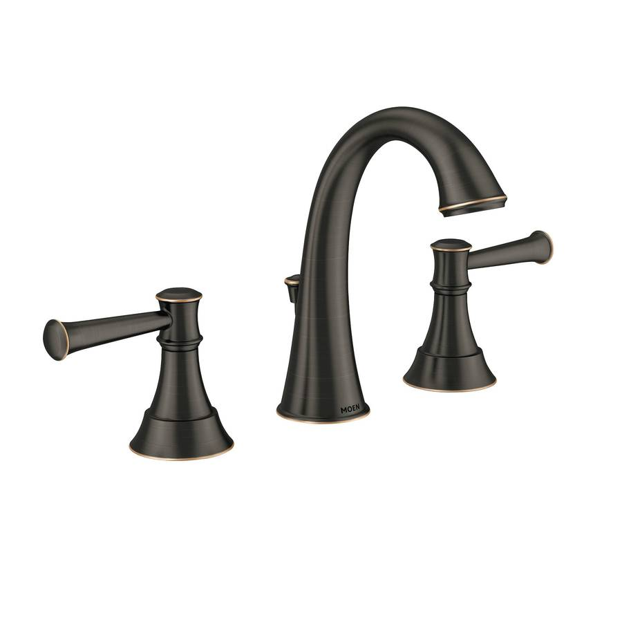Shop Moen Ashville Mediterranean Bronze Microban 2 Handle Widespread Watersense Bathroom Faucet