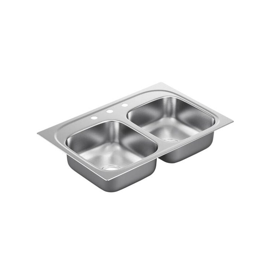Moen 2200 Series 22-in x 33-in Stainless Steel Double-Basin Drop-in 3-Hole Residential Kitchen Sink