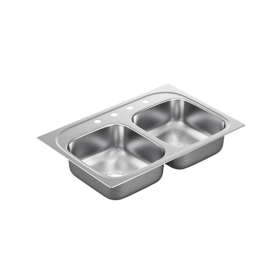 Moen 2200 Series 22-in x 33-in Stainless Steel Double-Basin Drop-in 4-Hole Residential Kitchen Sink