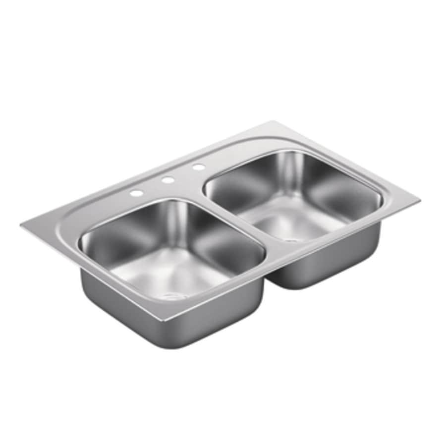 Moen 2000 Series 22-in x 33-in Stainless Steel 2 Stainless Steel Drop-in 3-Hole Residential Kitchen Sink