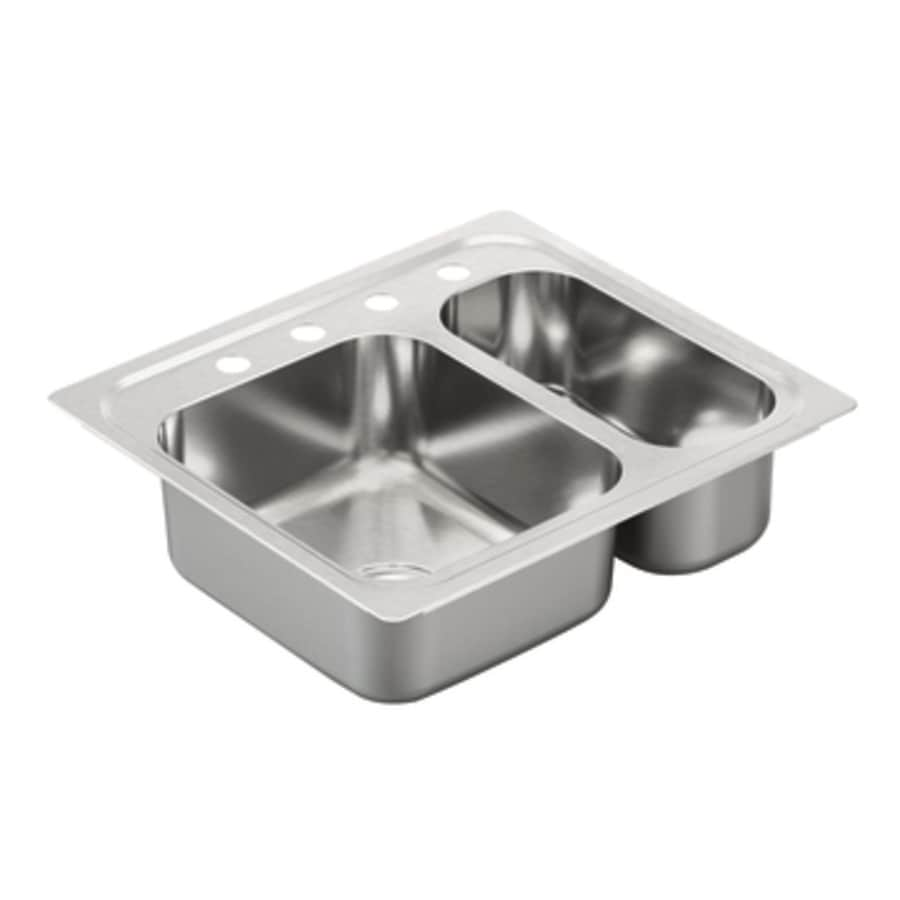 Moen 2000 Series 22-in x 25-in Double-Basin Stainless Steel Drop-in 4-Hole Residential Kitchen Sink