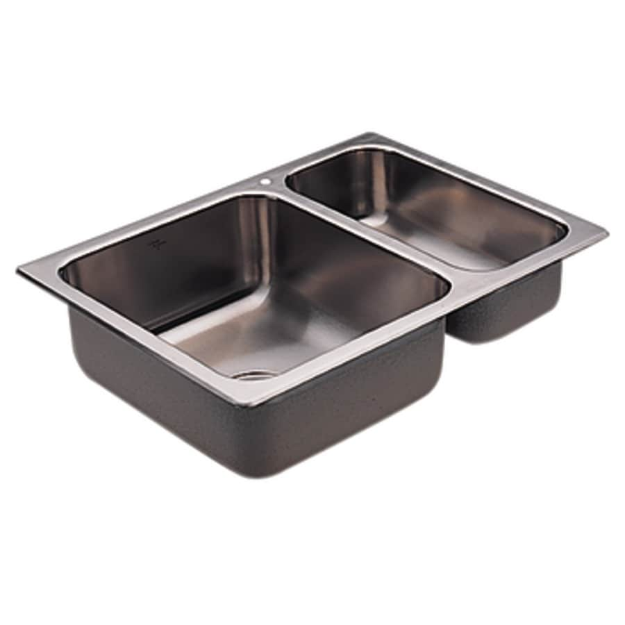 Moen 2000 Series 19.313-in x 26.06-in Double-Basin Stainless Steel Drop-in 1-Hole Residential Kitchen Sink