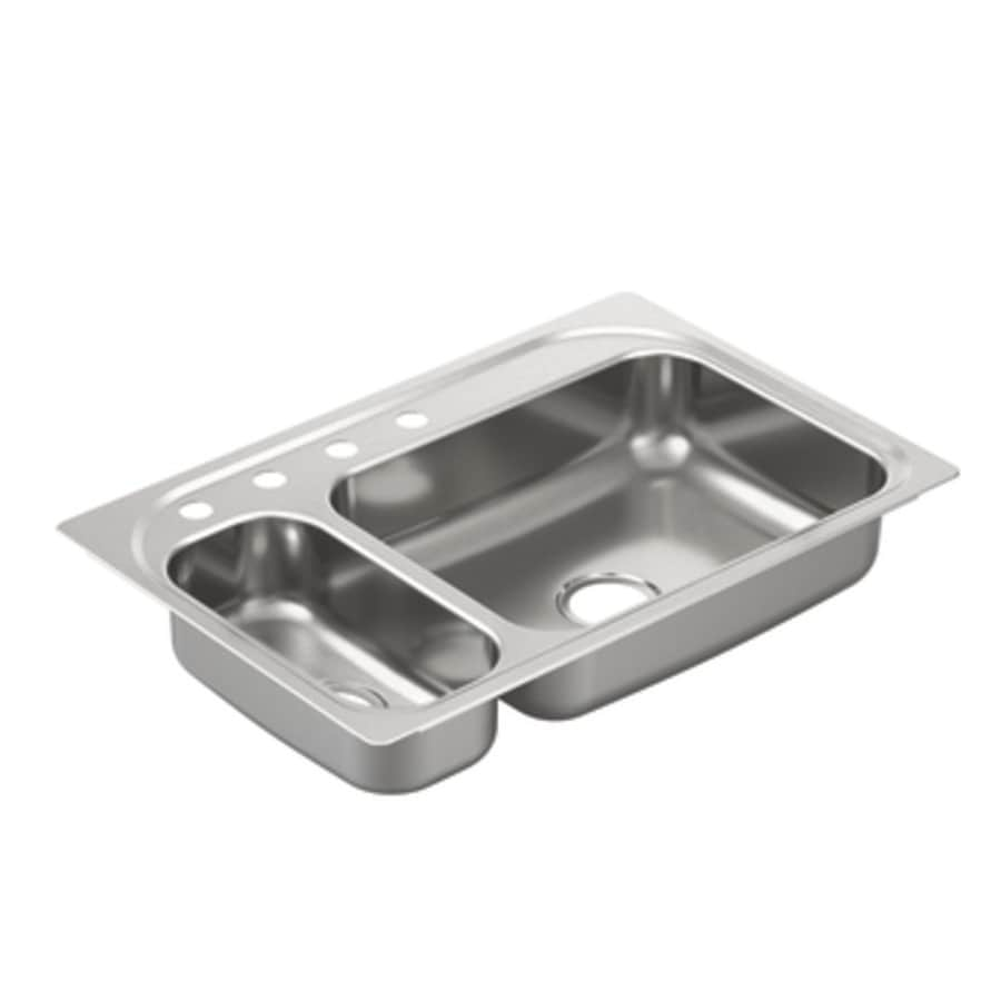 Moen 2000 Series 22-in x 33-in Double-Basin Stainless Steel Drop-in 4-Hole Residential Kitchen Sink