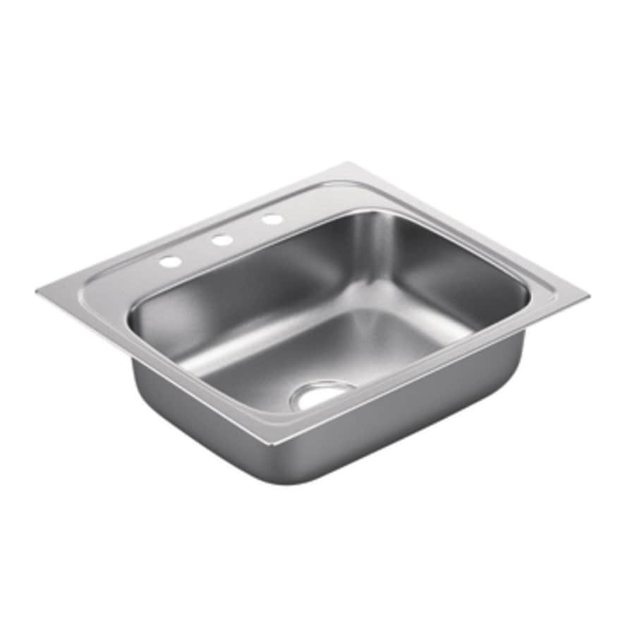Moen 2200 Series 22-in x 25-in Stainless Steel Single-Basin Drop-in 3-Hole Residential Kitchen Sink