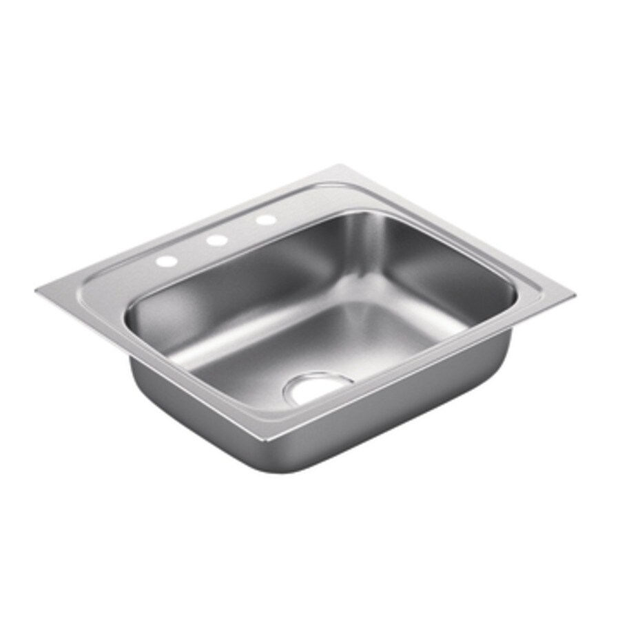 Moen 2200 Series 22-in x 25-in Stainless Steel 1 Stainless Steel Drop-in 3-Hole Residential Kitchen Sink