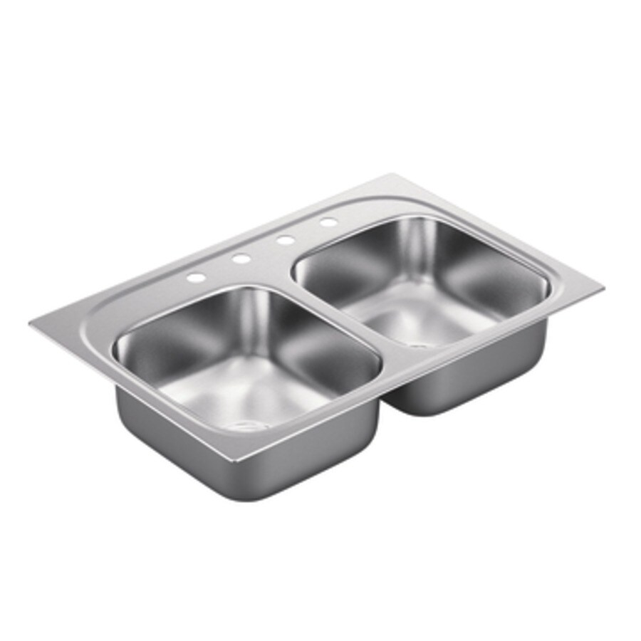 Moen 2200 Series 22-in x 33-in Stainless Steel Double-Basin Stainless Steel Drop-in 4-Hole Residential Kitchen Sink