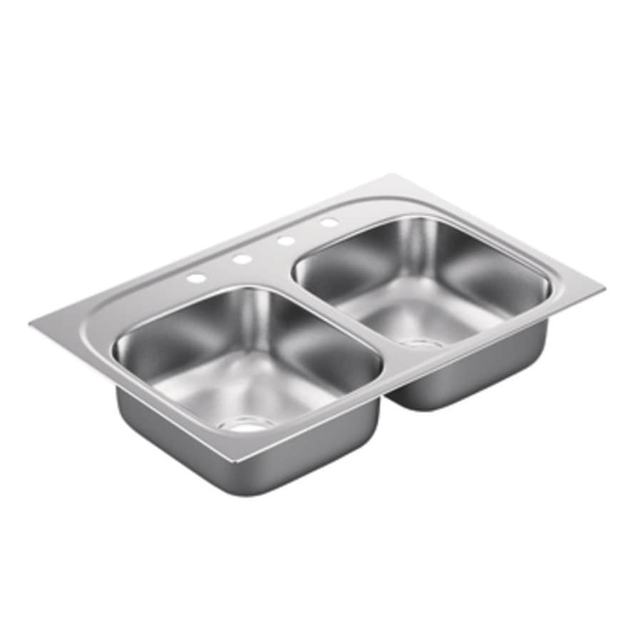 Moen 2200 Series 22-in x 33-in Stainless Steel Double-Basin Drop-in 4-Hole Commercial Kitchen Sink