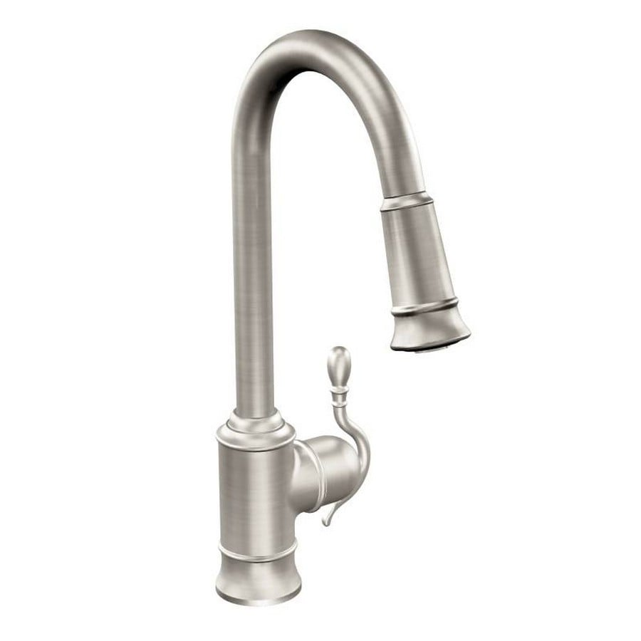 Moen Woodmere Spot Resist Stainless 1-Handle Deck Mount Pull-Down Kitchen Faucet